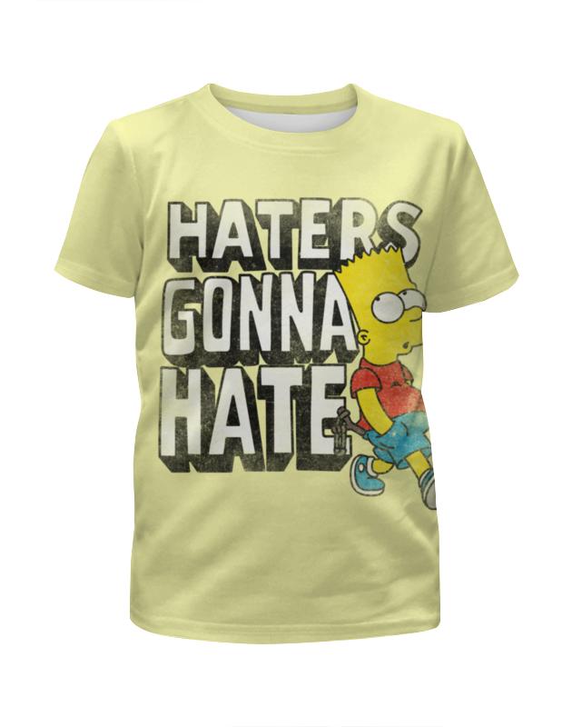 Футболка с полной запечаткой для девочек Printio Haters gonna hate. барт симпсон цена