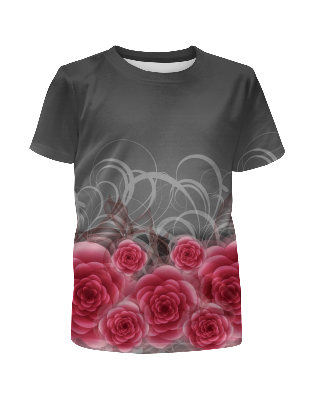 футболка с полной запечаткой для девочек printio розы декор Футболка с полной запечаткой для девочек Printio Красные розы