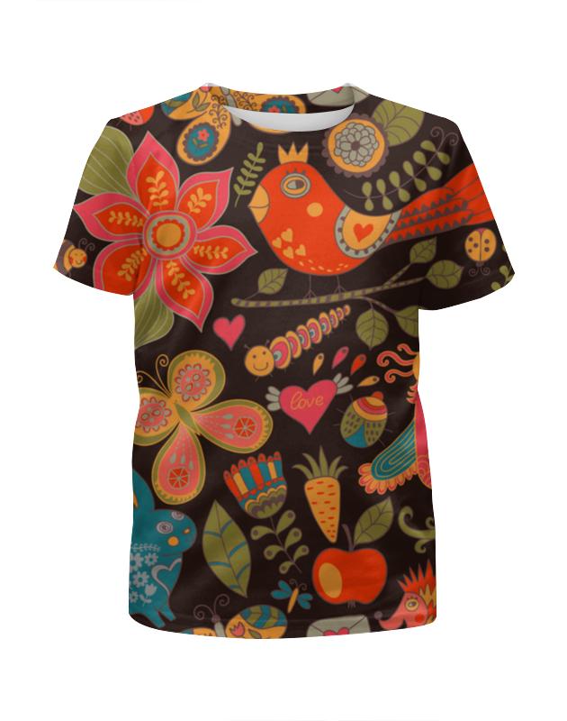 Футболка с полной запечаткой для девочек Printio Птичка и цветы футболка с полной запечаткой для мальчиков printio птичка