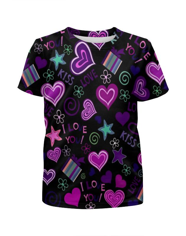 Футболка с полной запечаткой для девочек Printio I love you футболка с полной запечаткой для девочек printio i want you for nova corps