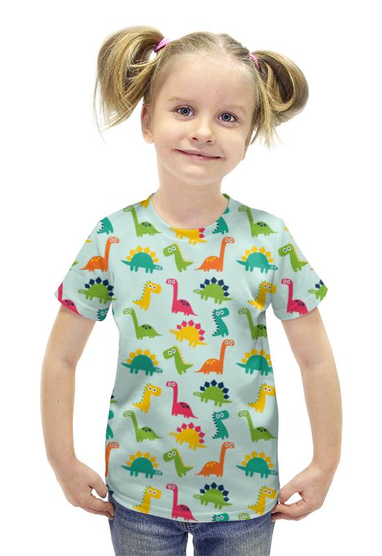 Футболка с полной запечаткой для девочек Printio Динозаврики футболка с полной запечаткой для девочек printio пртигр arsb