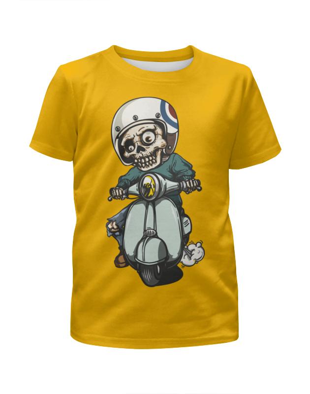 Printio Скелет на мотоцикле футболка с полной запечаткой для девочек printio скелет с гитарой