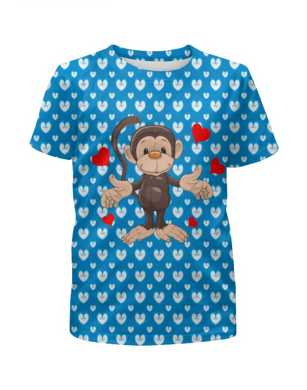 Футболка с полной запечаткой для девочек Printio Обезьянка пуффи сув обезьянка с сердцем