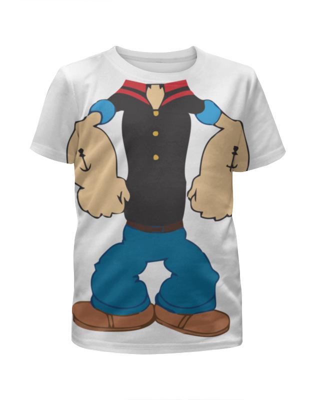 Футболка с полной запечаткой для девочек Printio Моряк попай футболка рингер printio моряк попай popeye the sailor