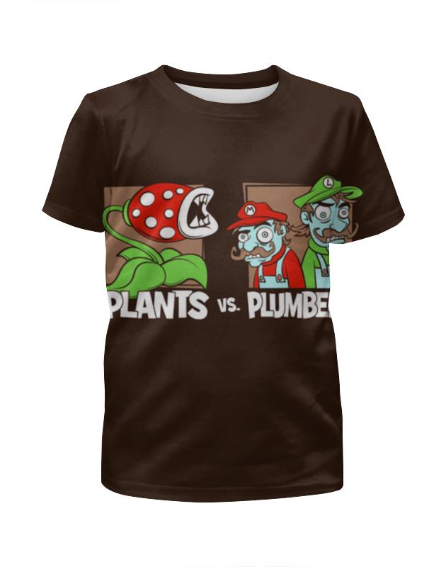 Футболка с полной запечаткой для девочек Printio Plants vs plumbers игрушка брелок plants vs zombies подсолнух