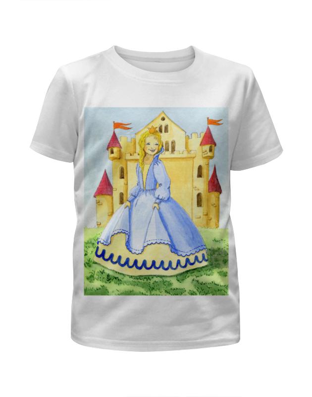Футболка с полной запечаткой для девочек Printio Счастливая принцесса и ее замок