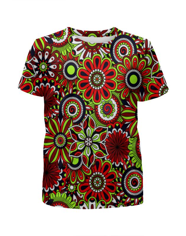 Футболка с полной запечаткой для девочек Printio Узор цветов футболка с полной запечаткой для девочек printio волнистый узор