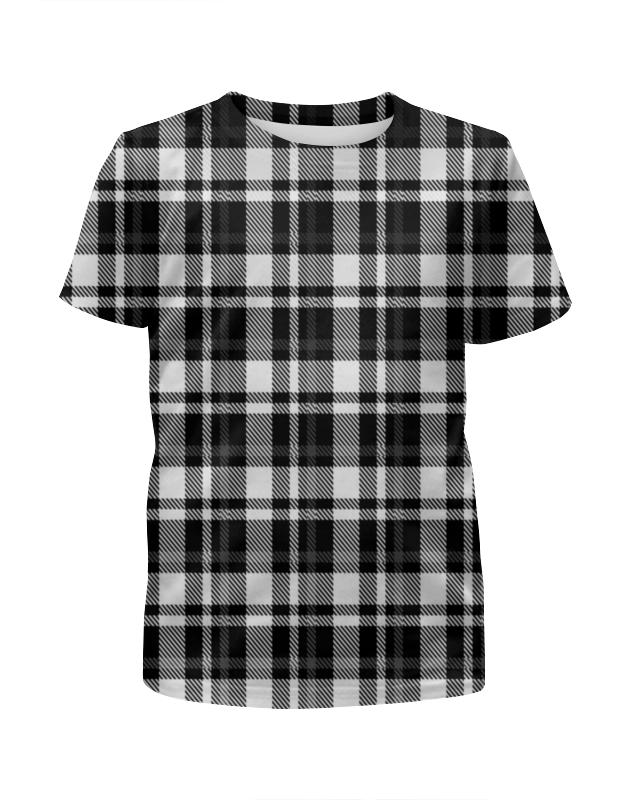 Футболка с полной запечаткой для девочек Printio Черно-белая клетка футболка с полной запечаткой для девочек printio цветная клетка