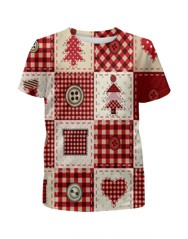 Футболка с полной запечаткой для девочек Printio Новогодний узор футболка для беременных printio новогодний лось