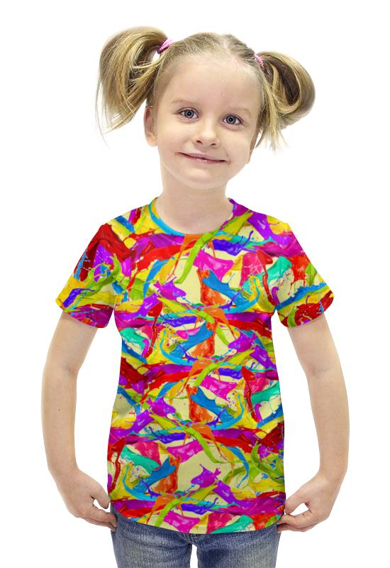 Футболка с полной запечаткой для девочек Printio Разноцветная краска.