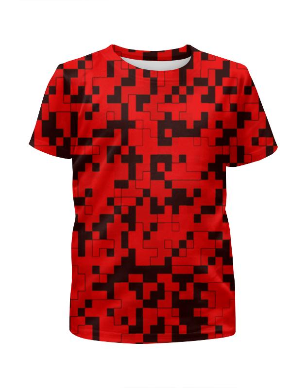 Футболка с полной запечаткой для девочек Printio Красные пиксели arina для девочек красные с белыми цветами