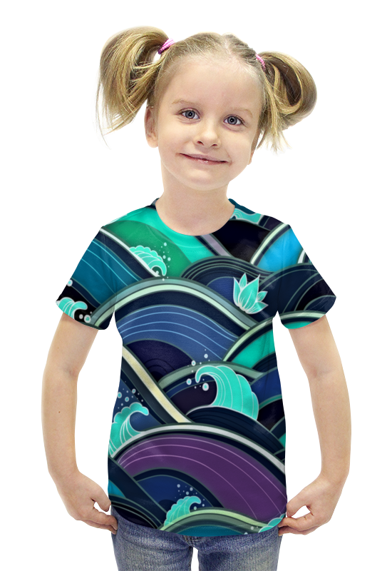 Футболка с полной запечаткой для девочек Printio Волны футболка с полной запечаткой для девочек printio пртигр arsb