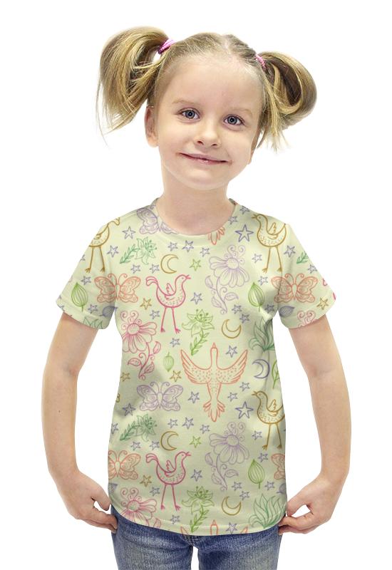 Футболка с полной запечаткой для девочек Printio Птички и бабочки футболка с полной запечаткой для девочек printio птички