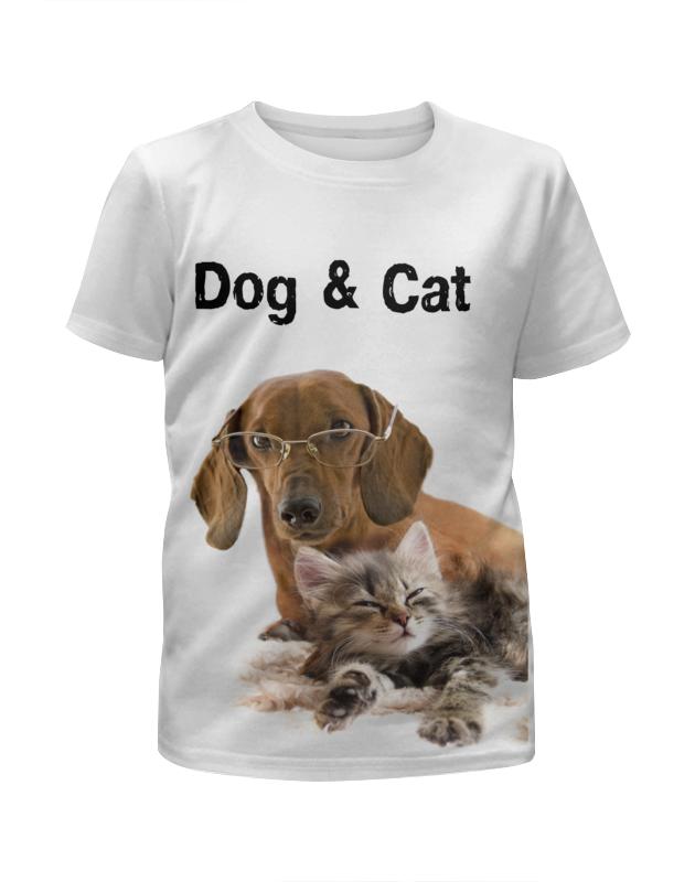 Футболка с полной запечаткой для девочек Printio Пес и кот футболка с полной запечаткой для девочек printio хипстер пес