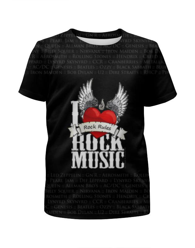 Футболка с полной запечаткой для девочек Printio I love rock футболка с полной запечаткой для девочек printio i want you for nova corps