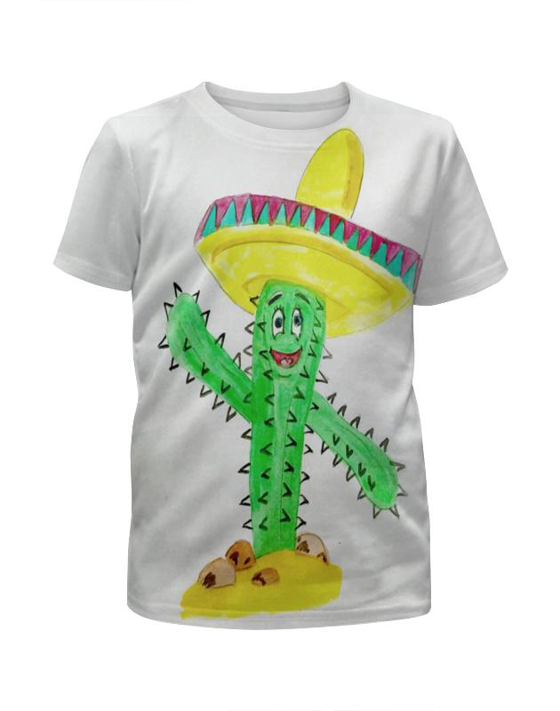 Футболка с полной запечаткой для девочек Printio Кактус футболка с принтом кактус 10 16 лет