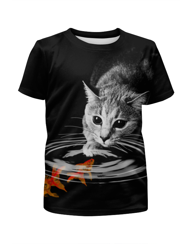 Футболка с полной запечаткой для девочек Printio Кот и рыбки футболка с полной запечаткой для девочек printio пес и кот