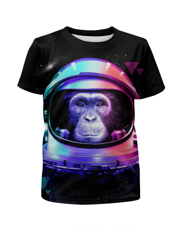 Футболка с полной запечаткой для девочек Printio Обезьяна космонавт футболка с полной запечаткой для девочек printio пртигр arsb