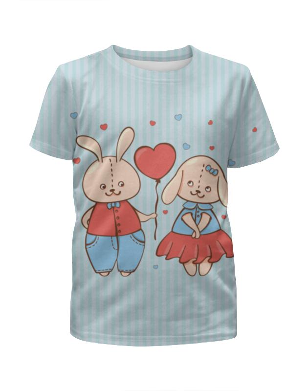 Футболка с полной запечаткой для девочек Printio Влюбленные зайцы. парные футболки. футболка с полной запечаткой мужская printio зайцы