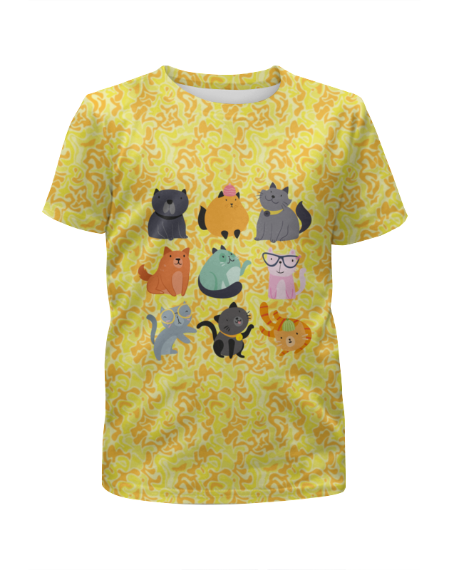 Футболка с полной запечаткой для девочек Printio Цветные кошки для кошки