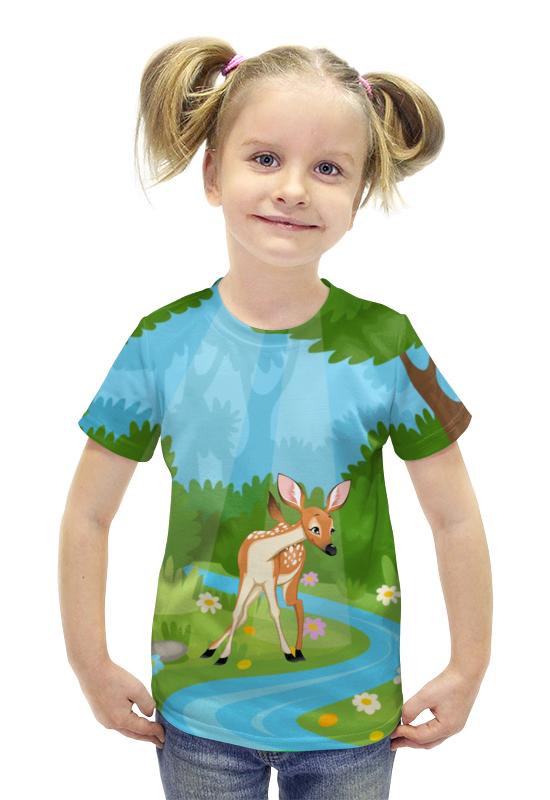 Футболка с полной запечаткой для девочек Printio Оленёнок футболка с полной запечаткой для девочек printio пртигр arsb
