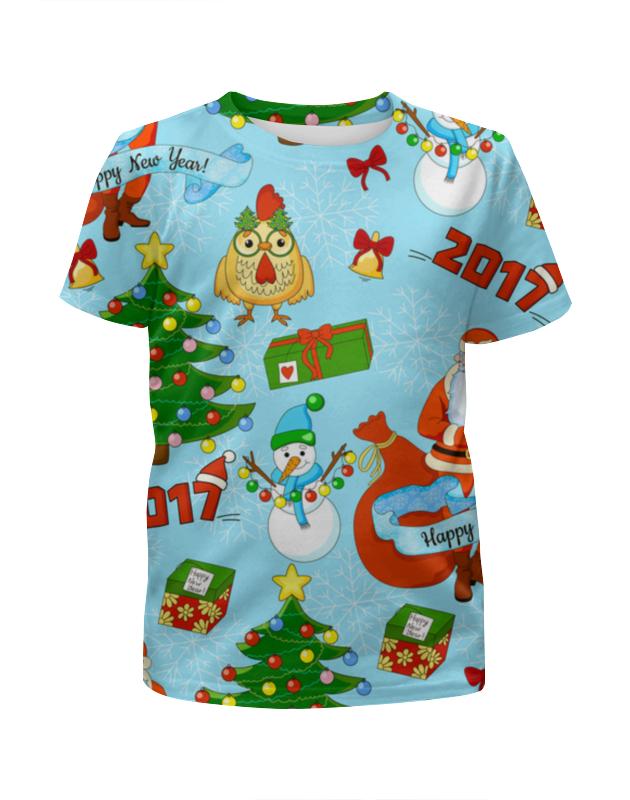 Футболка с полной запечаткой для девочек Printio Новогодний и яркий футболка для беременных printio новогодний лось