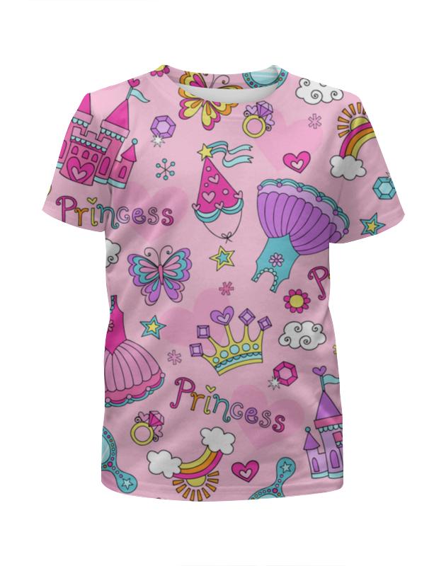 Футболка с полной запечаткой для девочек Printio Принцесса детская одежда летнее платье для девочек полосатые платья для девочек для девочек партия принцесса дети одежда для девочек vestidos