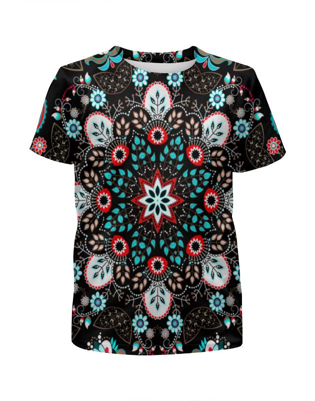 Футболка с полной запечаткой для девочек Printio Узор на черном футболка с полной запечаткой для девочек printio волнистый узор
