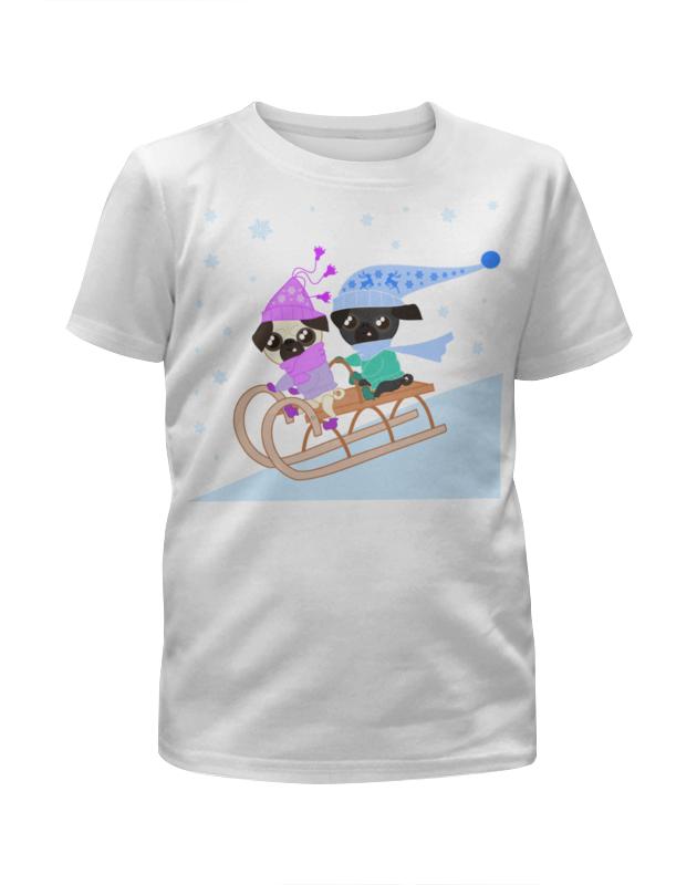 Футболка с полной запечаткой для девочек Printio Мопсы катаются на санках футболка с полной запечаткой для девочек printio на отдых