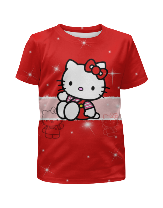 Футболка с полной запечаткой для девочек Printio Hello kitty с искрами cxzyking 20cm sweet new kt cat hello kitty plush toys cute hug mushroom hello kitty kt cat pillow dolls for kids baby girl gift