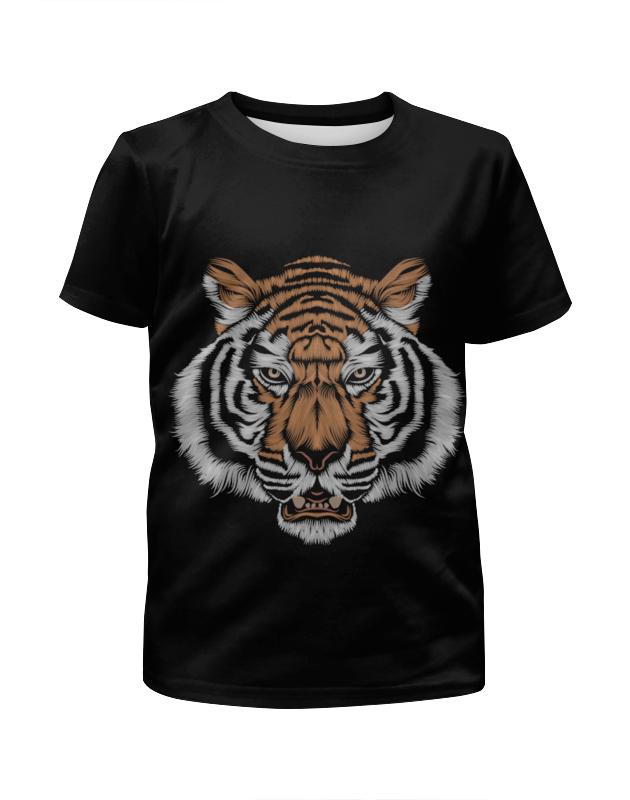 Футболка с полной запечаткой для девочек Printio Взгляд тигра мороз н ловушка для тигра