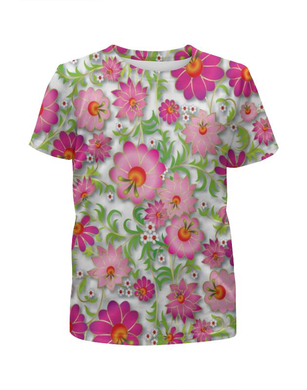 Футболка с полной запечаткой для девочек Printio Розовые цветы невидимка для волос funny bunny розовые цветы 2 шт