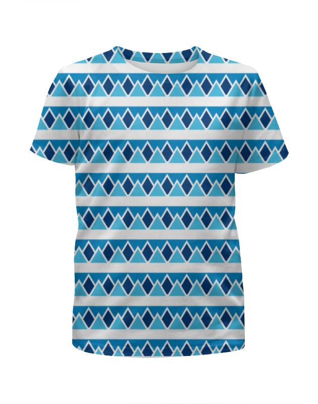 Футболка с полной запечаткой для девочек Printio Абстрактные голубые треугольники alfox голубые а6309