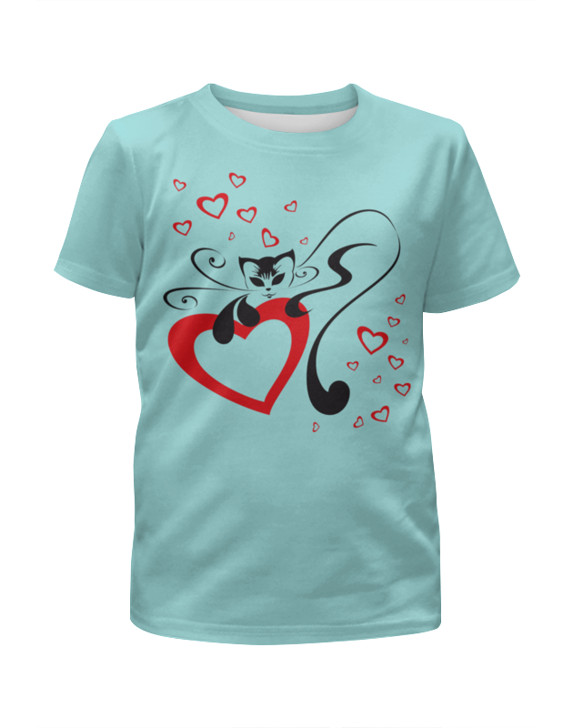 Футболка с полной запечаткой для девочек Printio Кошечка с сердечком (1) цена и фото