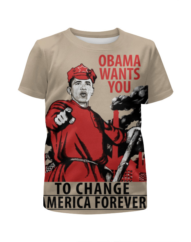 Футболка с полной запечаткой для девочек Printio Obama red army