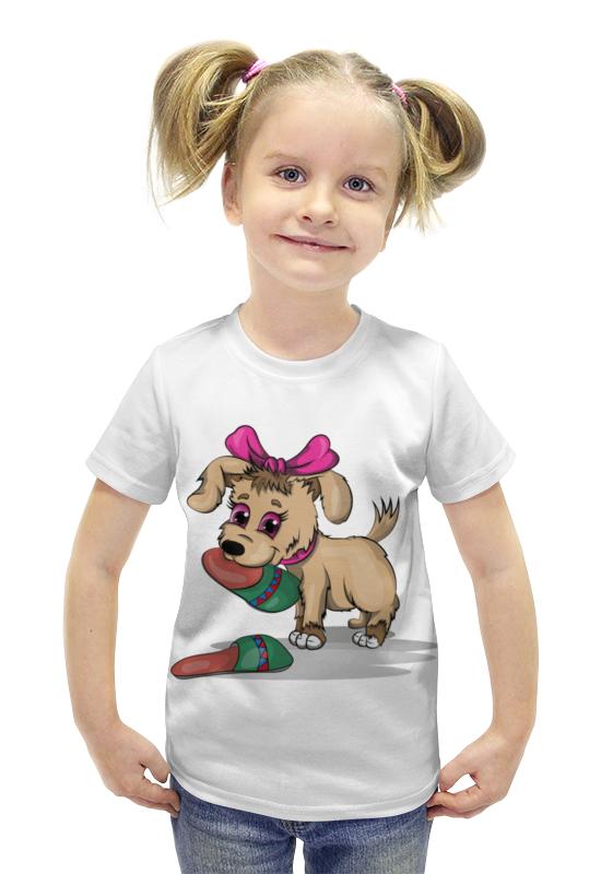 Футболка с полной запечаткой для девочек Printio Щенок с тапком футболка с полной запечаткой для девочек printio щенок