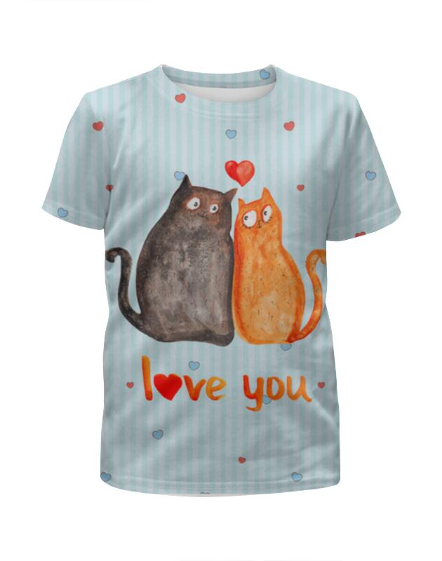 Футболка с полной запечаткой для девочек Printio Влюбленные коты. парные футболки. футболка с полной запечаткой мужская printio влюбленные птички парные футболки