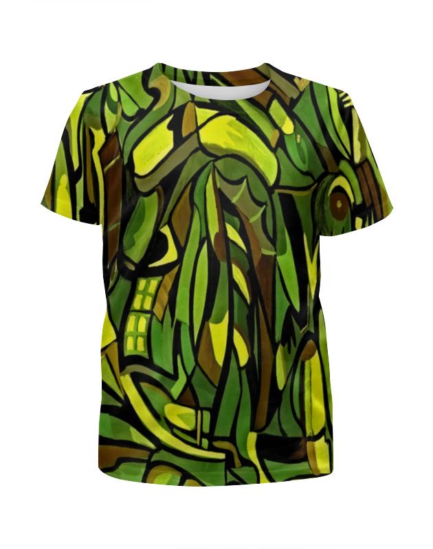 Футболка с полной запечаткой для девочек Printio Оттенки зеленого футболка с полной запечаткой для девочек printio пртигр arsb