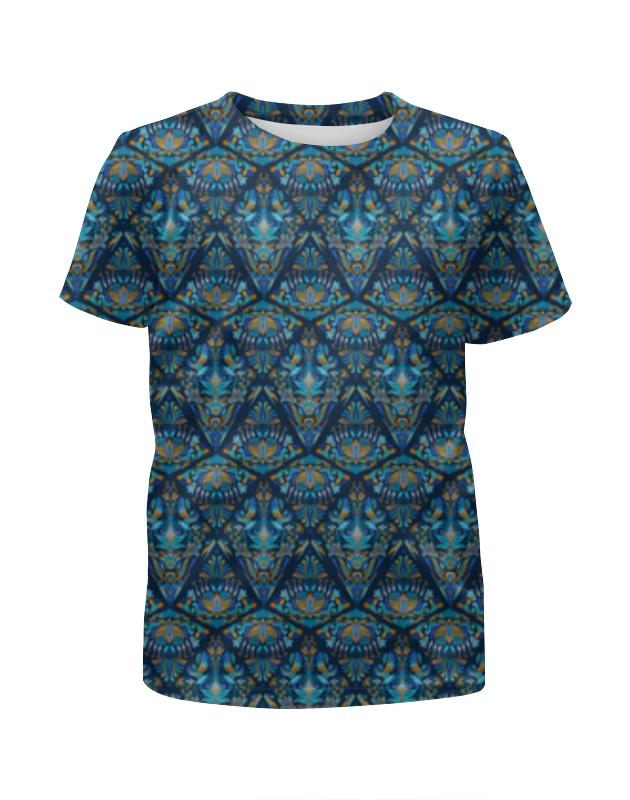 Футболка с полной запечаткой для девочек Printio Орнаментальный узор синий футболка с полной запечаткой для девочек printio синий огонь