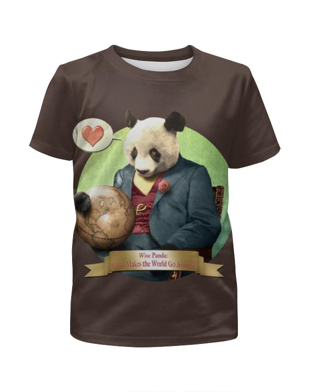 цена Футболка с полной запечаткой для девочек Printio Влюблённая панда