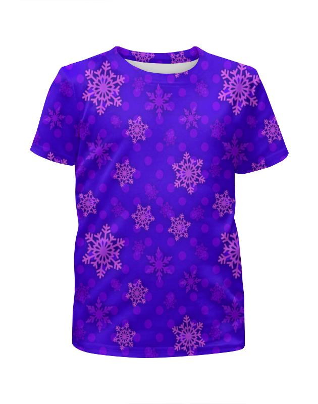 Футболка с полной запечаткой для девочек Printio Узор снежинок футболка с полной запечаткой для девочек printio пртигр arsb