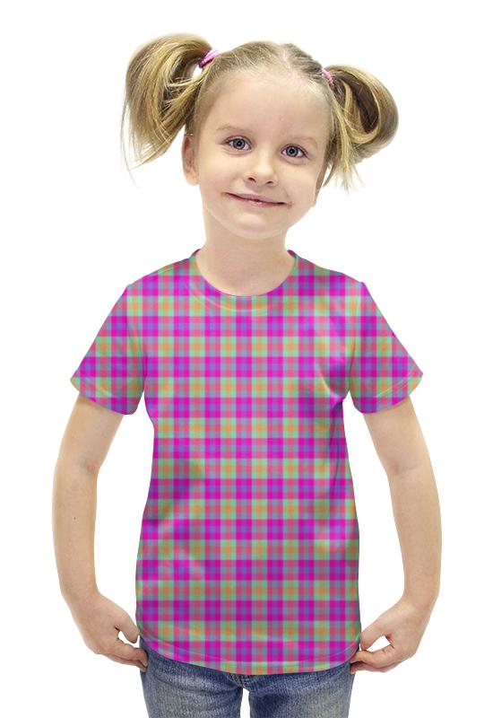 Футболка с полной запечаткой для девочек Printio Текстура ткани в цветную клеточку купить цветную плнку для тонировки фар