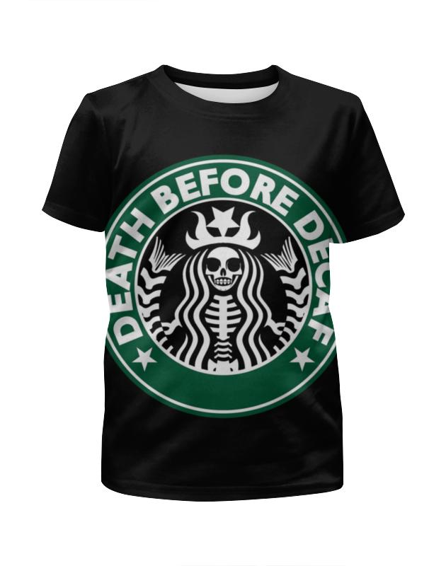 Футболка с полной запечаткой для девочек Printio Starbucks / death before decaf