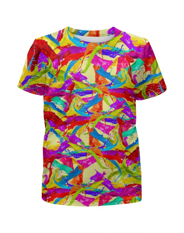 Футболка с полной запечаткой для девочек Printio Разноцветная краска. футболка с полной запечаткой для девочек printio весеннее настроение