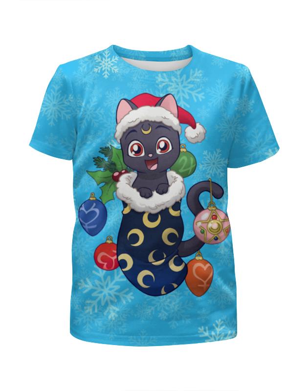 Футболка с полной запечаткой для девочек Printio Котик новогодний футболка для беременных printio новогодний лось