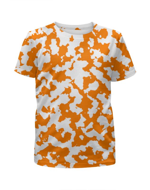 Футболка с полной запечаткой для девочек Printio Камуфляж бело-оранжевый vcmis оранжевый универсальный