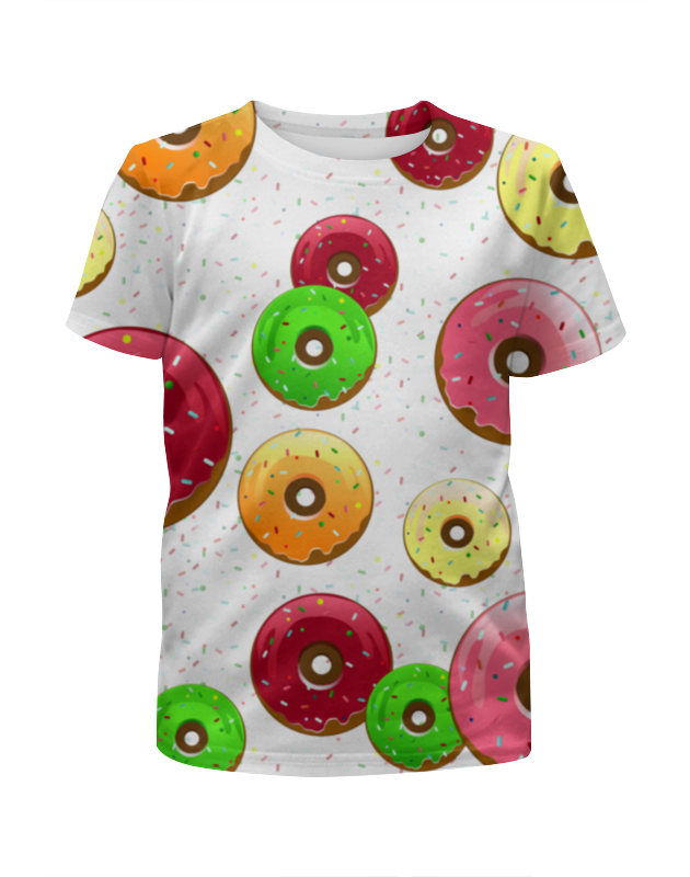 Футболка с полной запечаткой для девочек Printio Пончики разные сумка printio пончики donuts