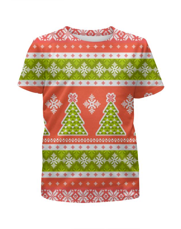 Футболка с полной запечаткой для девочек Printio Новогодний орнамент футболка для беременных printio новогодний лось