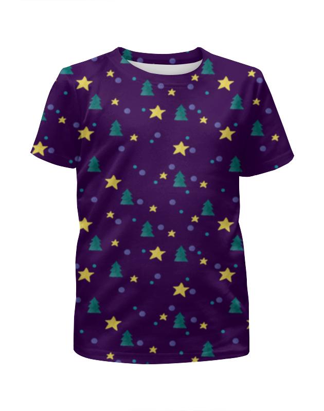 Футболка с полной запечаткой для девочек Printio Елки и звезды