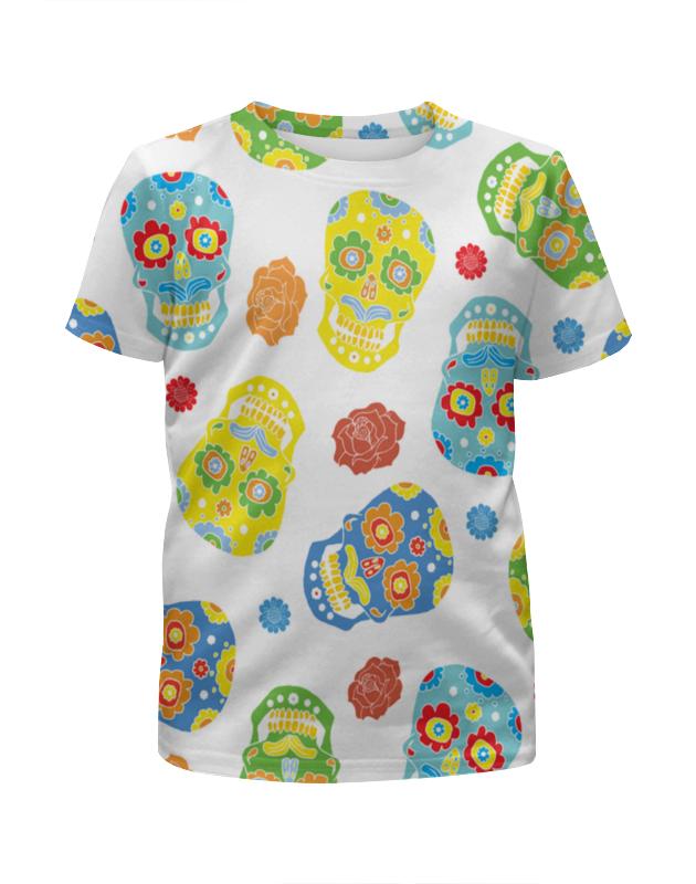 Футболка с полной запечаткой для девочек Printio Расписные черепа платье летнее printio расписные черепа